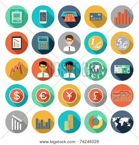 Set Of Flat Design Icons With Financial Infographics.