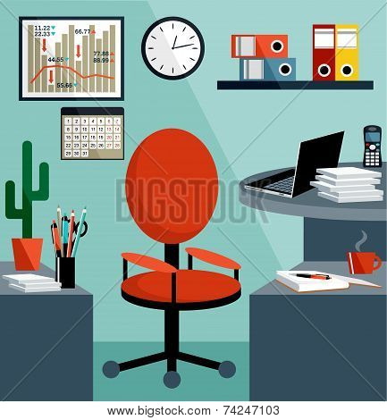Business Workplace With Office