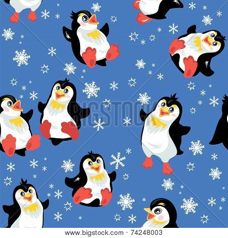 Seamless Pattern With Funny Penguins And Snowflakes On Blue Background, Design For Winter, Christmas