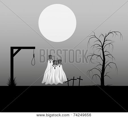 Spooky background with three ghosts with hats standing in the cemetery