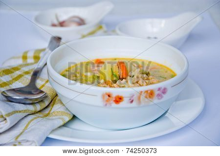 Gazpacho And Ingredients On A Table