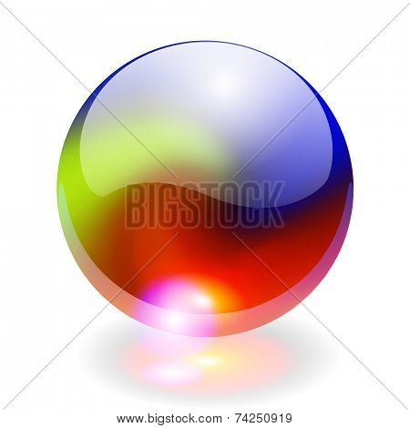 Glass shining sphere with rainbow colors, design element