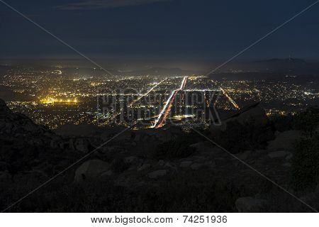 Rocky Peak Park night view of suburban Simi Valley near Los Angeles, California. soft focus