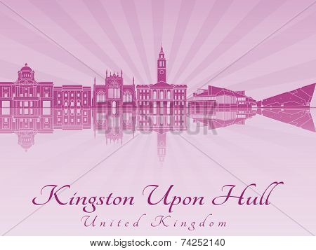 Kingston Upon Hull Skyline In Purple Radiant Orchid