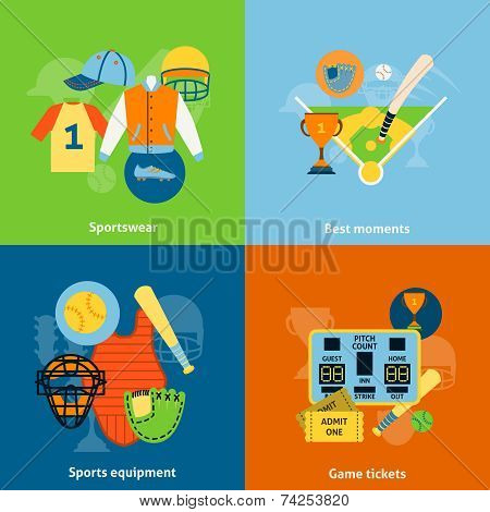 Baseball flat icons composition print