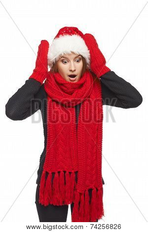 Surprised Xmas woman