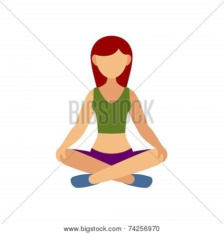 Woman in Pose Practicing Yoga. Vector