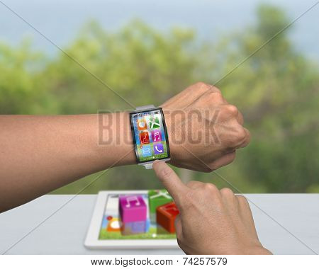 Man Hand Wearing Smartwatch With Bent Interface