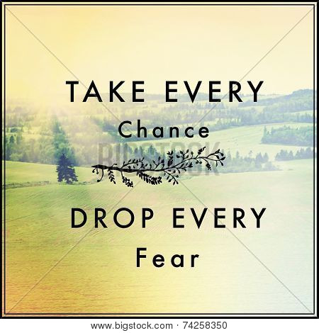 Inspirational Typographic Quote - Take every chance Drop every fear