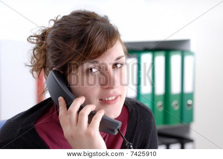 Young Business Woman On The Phone
