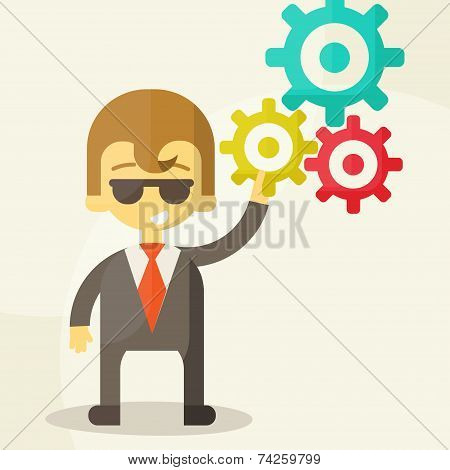 Businessman with the gears. Brain storming, successful business idea concept. Vector illustration