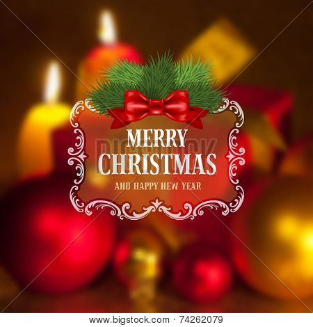 Christmas greeting card with holiday still life on background. Blurred effect. Vector illustration.
