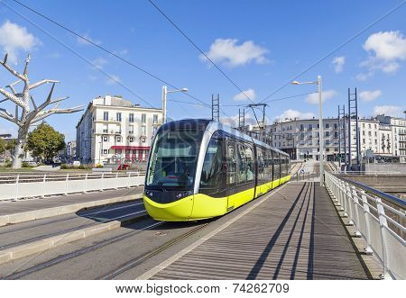 Yellow Tram On The Street Of Brest, France