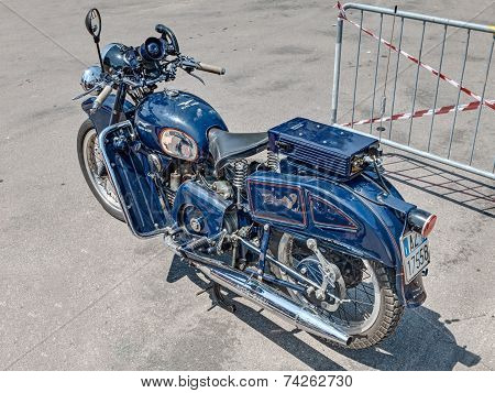 Old Moto Guzzi Falcone Belonged To The Italian Police