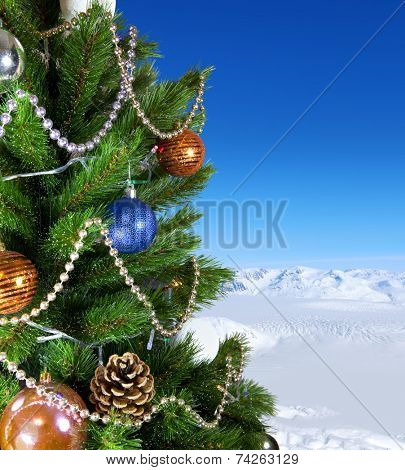 jewelry on a green New Year tree, holiday background