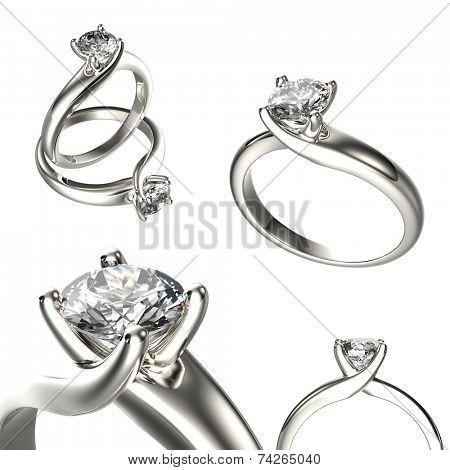 Set Of Wedding Ring with Diamond. Fashion Jewelry background