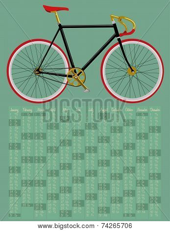 2015 calendar with fixed gear bicycle