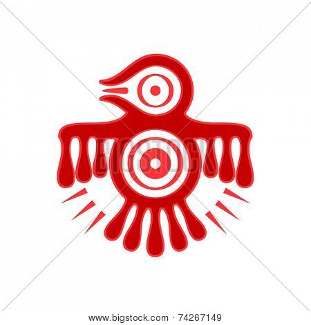 Aztec spirit bird red symbol isolated