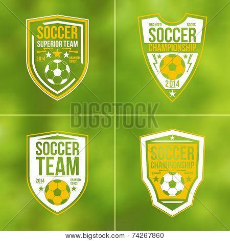 Set Of Soccer Championship Flat Emblems
