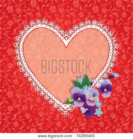 Card With Heart Shape Is Made Of Lace Doily And Pansy Folwers On Red Ornomental Floral Background, E