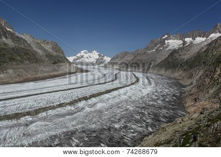 View Over Aletsch Glacier With A Blue Sky.