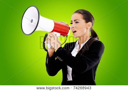 Cute business woman screaming loudly thru big megaphone