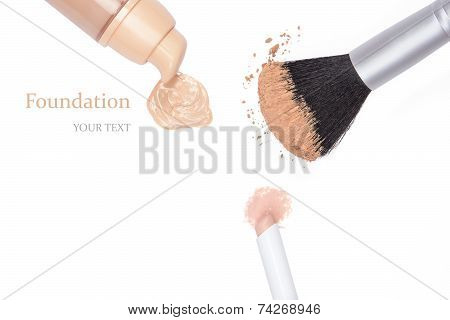 Foundation, Concealer Pencil And Powder With Makeup Brush