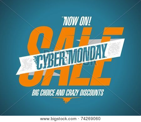 Cyber monday sale now on banner.