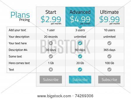 Modern Pricing Table With Turquoise Recommended Option