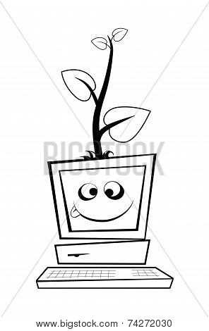 Computer With A Young Tree