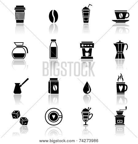 Coffee icons black