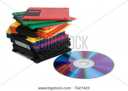 Compact Disk And Pile Of Diskettes