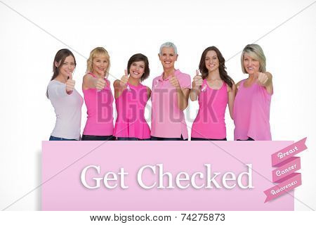 Positive women posing with pink top for breast cancer against pink card