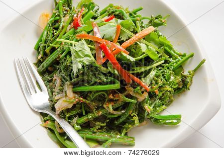 Stir Fried Vegetable On A White Plate