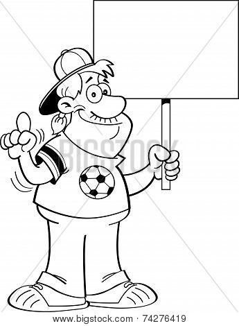 Cartoon Soccer Fan Holding a Sign