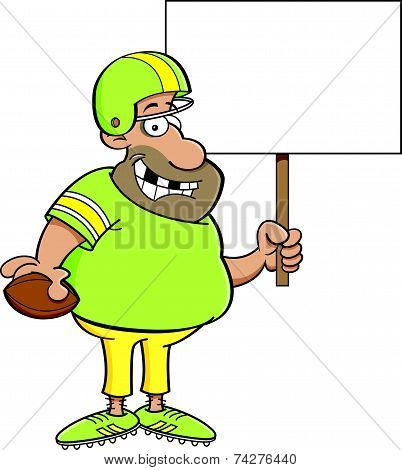 Cartoon Football Player Holding a Sign