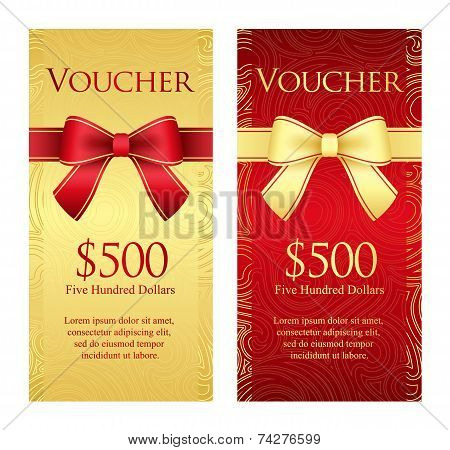 Vertical Gold And Red Voucher With Ribbon And Swirl Pattern