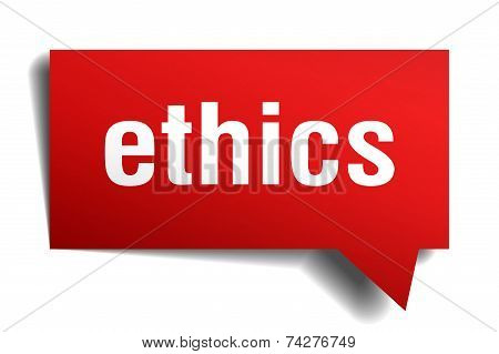 Ethics Red 3D Realistic Paper Speech Bubble