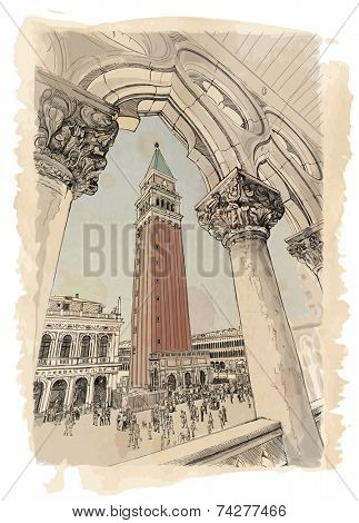 Venice - Piazza San Marco and Kampanila. View from the Doge's Palace. Vector drawing