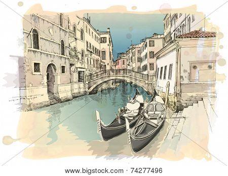 2 gondolas. Ponte del Mondo Novo, Campo S.Maria Formosa. Venice, Italy