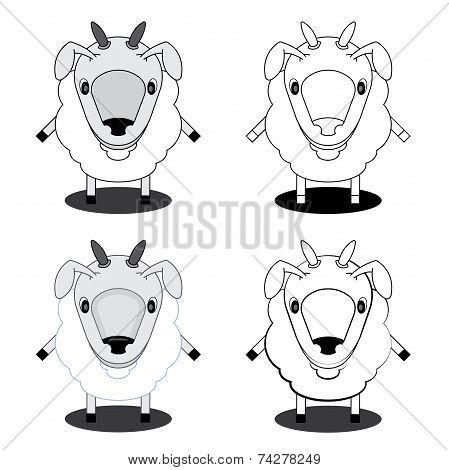 illustration lamb in different styles