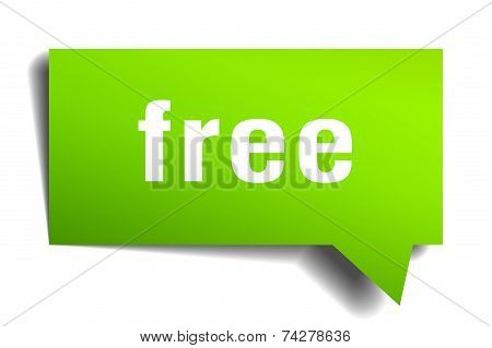 Free Green 3D Realistic Paper Speech Bubble