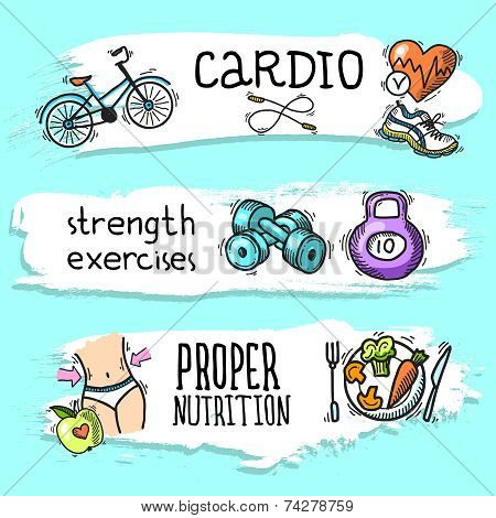 Fitness sketch banner set