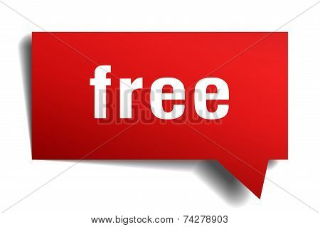 Free Red 3D Realistic Paper Speech Bubble