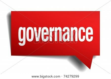 Governance Red 3D Realistic Paper Speech Bubble