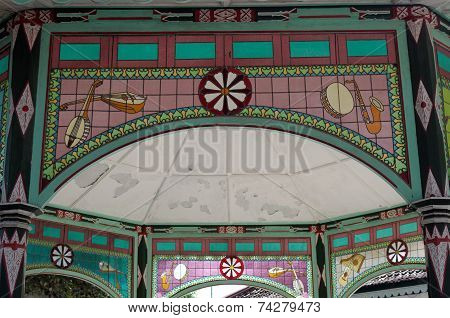 musical instruments on stained glass in Yogyakarta Sultanate Palace