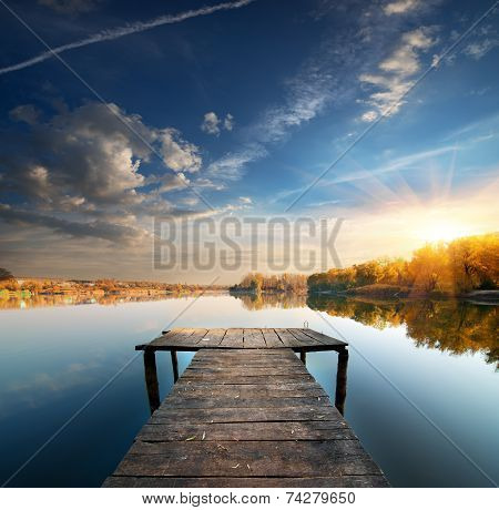 Pier on a calm river
