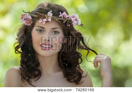 spring beauty woman in nature