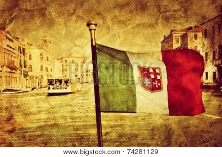 Venice Grand Canal, Italian Canal Grande and the flag of italy. Vintage art, retro grunge canvas.