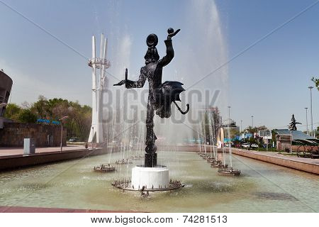 Fountain Near The Circus In Almaty
